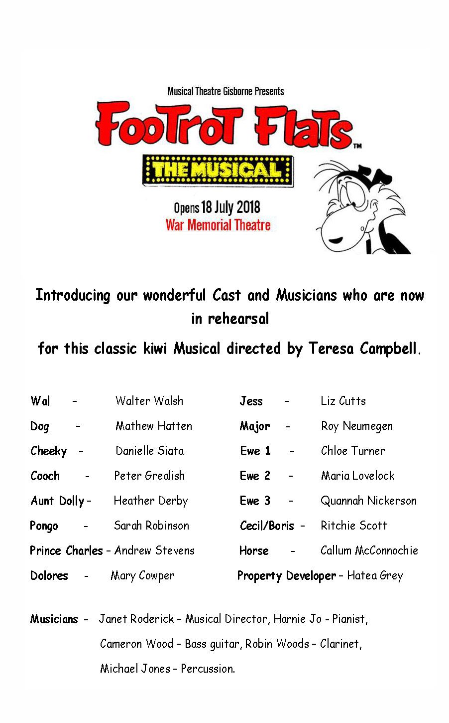 Footrot flats Cast and Musicians announcement